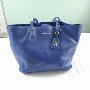 Cole Haan Blue Leather Tote Bag